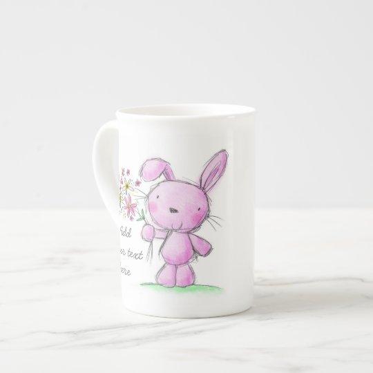 ♥ CHINA MUG ♥ cute pink lilac bunny