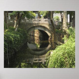 China, Nantong, an arched bridge forms a perfect Poster