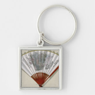 China on the Face of a FanPanoramic Map Silver-Colored Square Key Ring