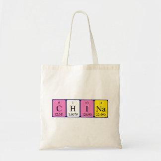 China periodic table name tote bag