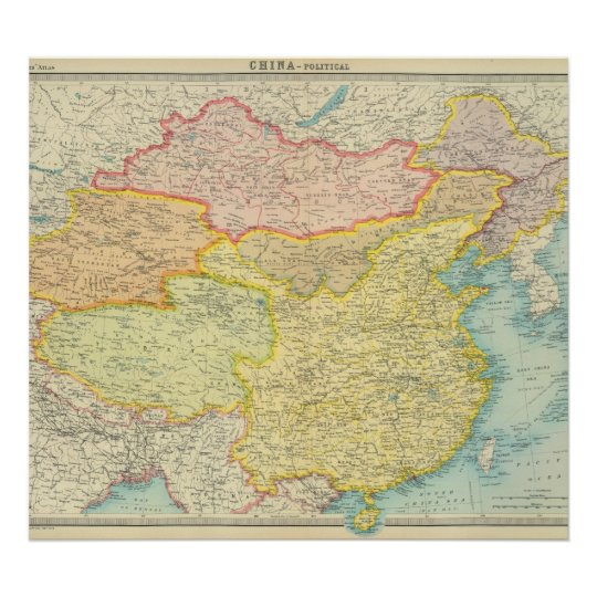 Chinese Political Map.China Political Map Poster Zazzle Co Uk
