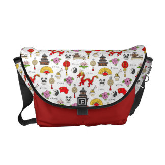 China Symbols Pattern Courier Bag