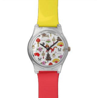 China Symbols Pattern Wrist Watch