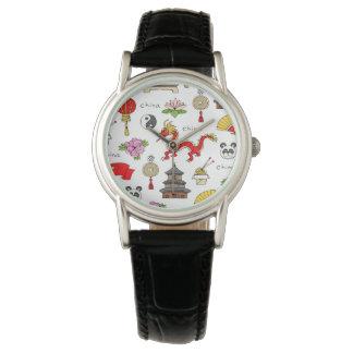 China Symbols Pattern Wristwatch