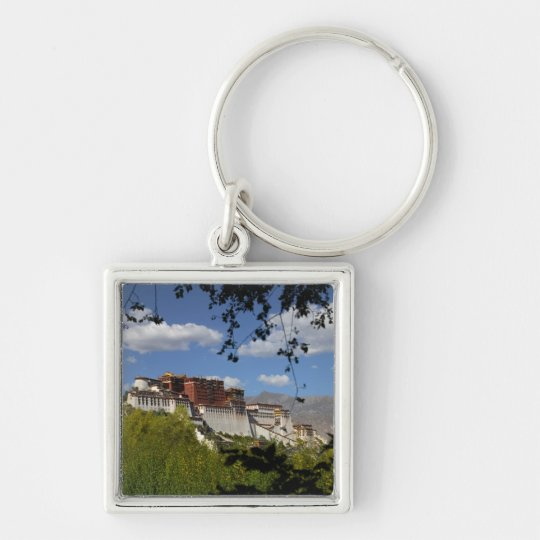 China, Tibet, Lhasa, Potala Palace Silver-Colored Square Key Ring