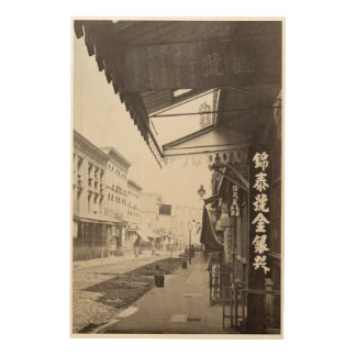 China town street in San Francisco vintage Wood Wall Art