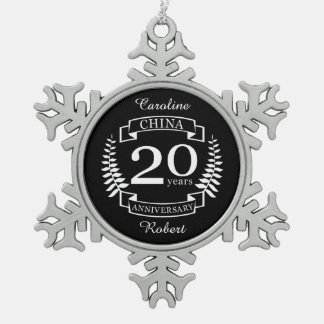 China Traditional wedding anniversary 20 years Snowflake Pewter Christmas Ornament
