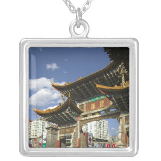 CHINA, Yunnan Province, Kunming. Memorial Arch Silver Plated Necklace