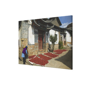 CHINA, Yunnan Province, Tianshengying. Drying Gallery Wrapped Canvas