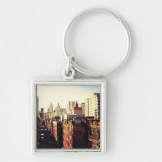 Chinatown Cityscape Silver-Colored Square Key Ring