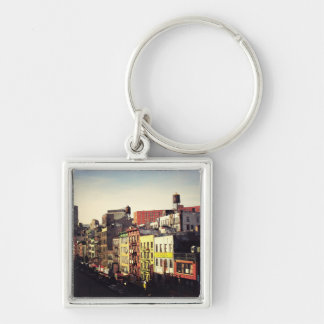 Chinatown From Above Silver-Colored Square Key Ring