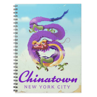 Chinatown New York city vintage poster Notebooks
