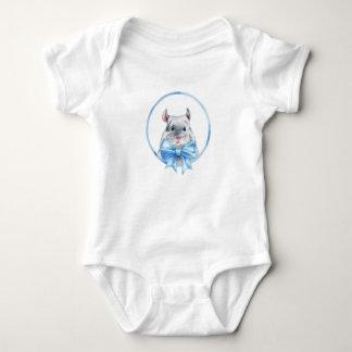 Chinchilla 1. Blue bow Baby Bodysuit