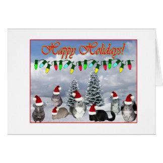 Chinchilla Santas Decorating Tree Card