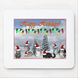 Chinchilla Santas Decorating Tree Mouse Pad
