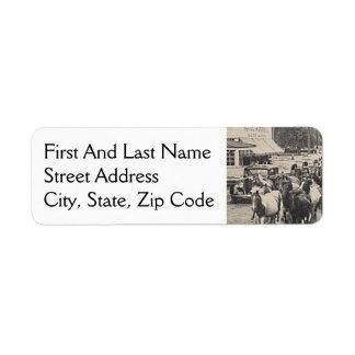 Chincoteague Ponies Vintage Postcard Art Return Address Label