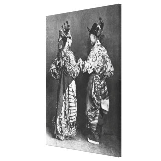 Chinese actors from behind, c.1870 (b/w photo) canvas print