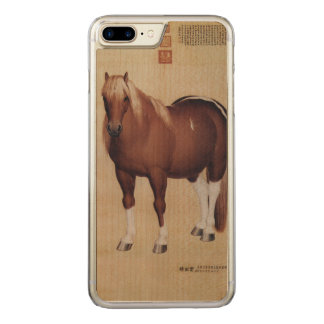 Chinese Ancient Papyrus With Horse Painting Carved iPhone 8 Plus/7 Plus Case