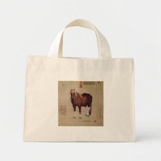 Chinese Ancient Papyrus With Horse Painting Mini Tote Bag
