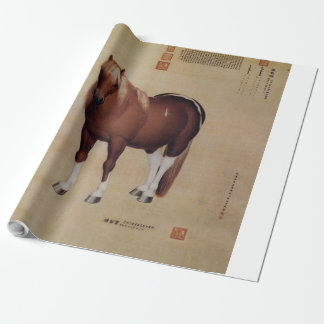 Chinese Ancient Papyrus With Horse Painting Wrapping Paper