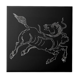 Chinese ancient sea horse white tile