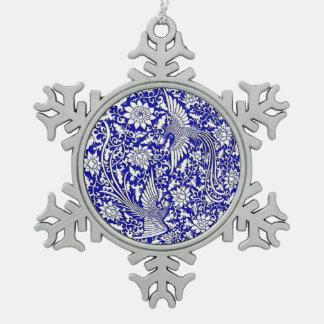 Chinese antique double phoenix design pewter snowflake decoration