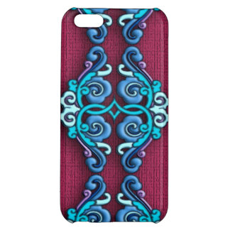 Chinese arabesque ornament blue case for iPhone 5C