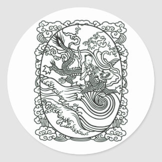 Chinese Baby Riding Dragon - Good Luck Charm Round Stickers