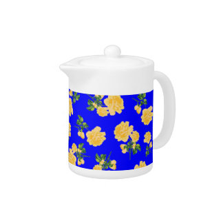 Chinese Blue Yellow roses Floral pattern teapot
