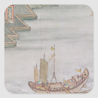Chinese Boat Square Sticker