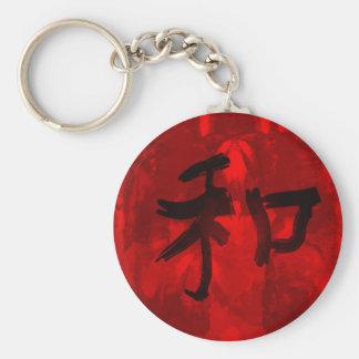 Chinese Calligraphy - Harmony Basic Round Button Key Ring