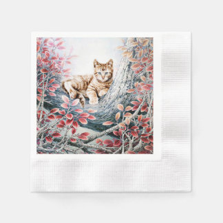Chinese Cat Art Cat in Tree Disposable Napkins