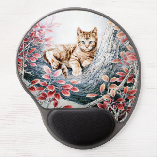 Chinese Cat Art Cat in Tree Gel Mouse Pad