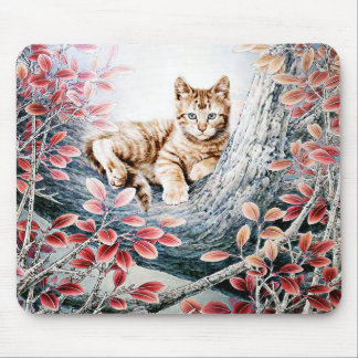 Chinese Cat Art Cat in Tree Mousepads