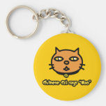 Chinese Cat Says 'Mao' Basic Round Button Key Ring