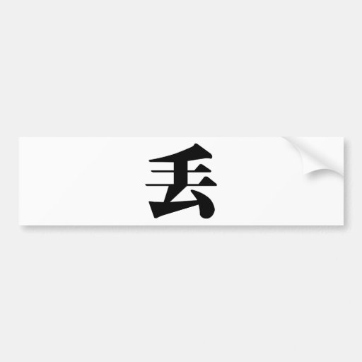 Chinese Character : diu, Meaning: lose, drop Bumper Sticker