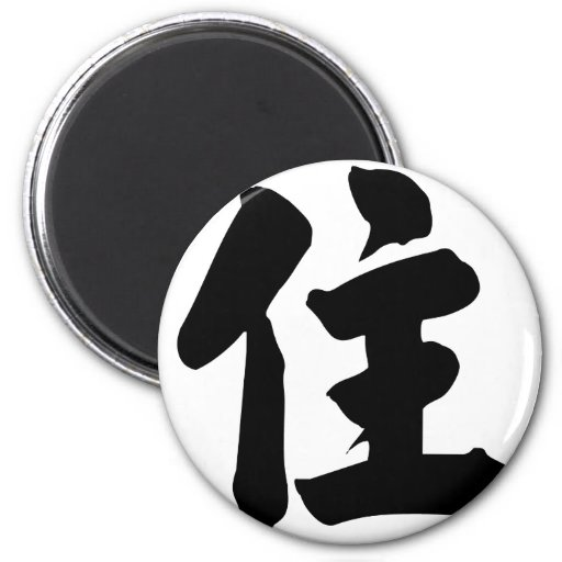 Chinese Character : zhu, Meaning: live, stay Fridge Magnet