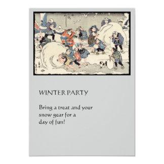 Chinese Children Making Snowballs 13 Cm X 18 Cm Invitation Card