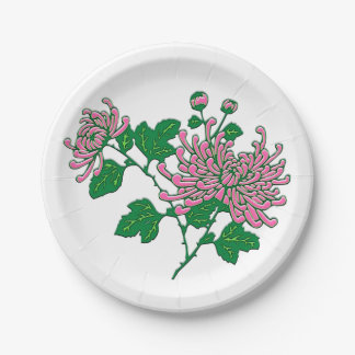 Chinese chrysanthemums  - soft pink 7 inch paper plate