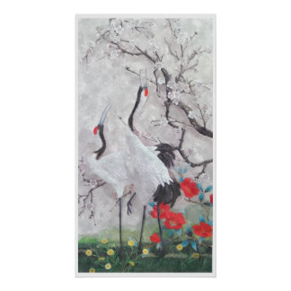 Chinese Crane with Peach Blossom Watercolor Poster