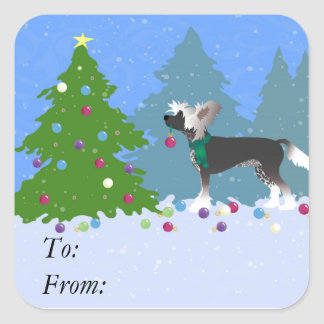 Chinese Crested Decorating a Christmas Tree Square Sticker