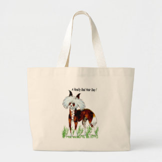 Chinese Crested Dog, Bad Hair Day Large Tote Bag