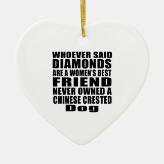 CHINESE CRESTED DOG BEST FRIEND DESIGNS CERAMIC HEART DECORATION