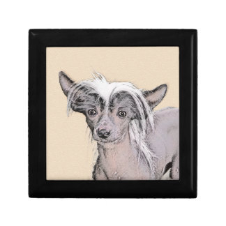Chinese Crested (Hairless) 2 Small Square Gift Box