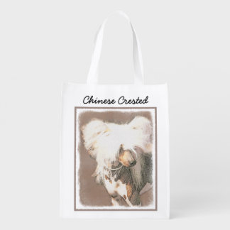 Chinese Crested (Hairless) Reusable Grocery Bag