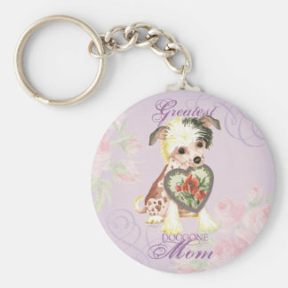 Chinese Crested Heart Mom Basic Round Button Key Ring