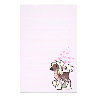 Chinese Crested Love (hairless) Personalized Stationery