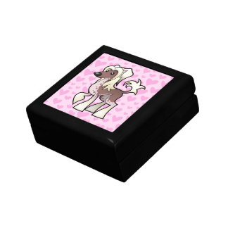 Chinese Crested Love (hairless) Small Square Gift Box