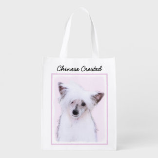 Chinese Crested (Powderpuff) Reusable Grocery Bag