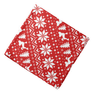 Chinese Crested Silhouettes Christmas Pattern Red Bandana